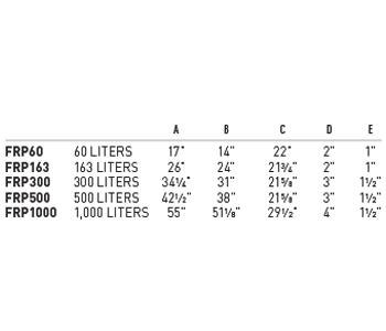 Fiberglass Larval Tanks Chart